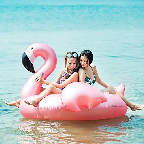 Aufblasbarer Flamingo Pool Float Ride-On, Mehrfarbig, mittel (190 cm x 190 cm x 130 cm) Geeignet für 2-3 Personen