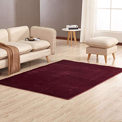 Chutoral Moderner Teppich für Wohnzimmer, Schlafzimmer, weicher zotteliger Teppich, rutschfest, flauschiger Plüsch, 80 x 160 cm, Burgunderrot