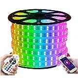 XUNATA Tira de LED WiFi RGB 220V, Impermeable y Flexible, Música Teléfono Inteligente/Control Remoto/Aplicación Alex Google Assistant (20 metros, 120LEDs/m)