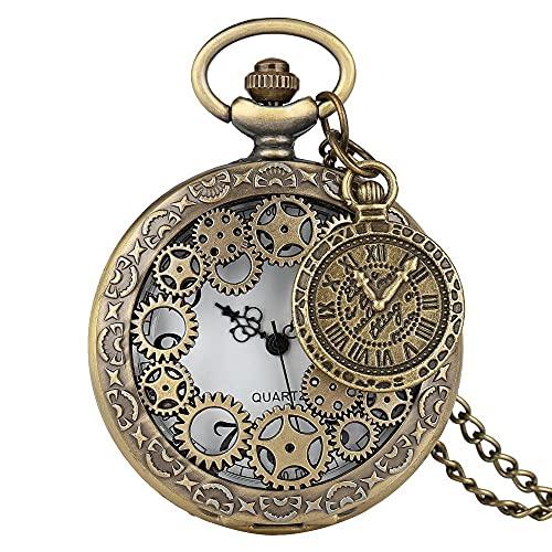 Reloj de bolsillo con colgante de latón estilo vintage de cobre steampunk y bronce hueco, para hombres y mujeres con accesorio (color 1)