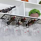 Under Cabinet Stemware Glasses Rack, Wine Glasses Storage, Hold up to 8 Glasses and 3 Wine Bottles, Metal Organizer for Bar Kitchen (Black)