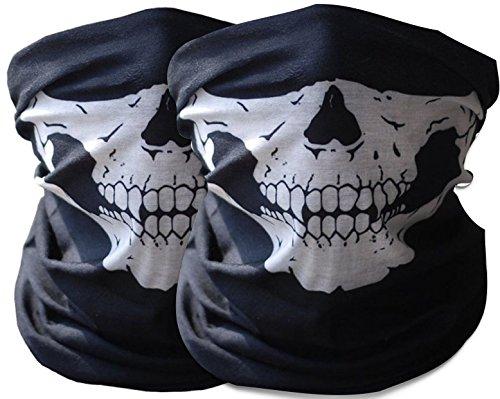 2x Premium Multifunktionstuch | Sturmmaske | Bandana | Schlauchtuch | Halstuch mit Totenkopf- Skelettmasken für Motorrad Fahrrad Ski Paintball Gamer Karneval Kostüm Skull Maske