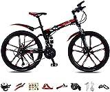Bicicleta plegable de 26 pulgadas, 30 velocidades, bicicleta de montaña, suspensión completa, con doble freno de disco ajustable, color rojo