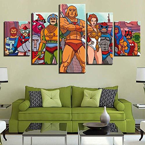 Poster HD-Drucke Modern Wandkunst Leinwand 5 Stücke He-Man und die Meister des Universums Malerei Für Zuhause Dekoration,B,30×50×2+30×70×2+30×80×1
