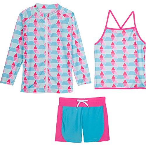 SwimZip Girls Long Sleeve Rash Guard Swim Shorts Set with UPF 50+,Pool Party,12-18 Months