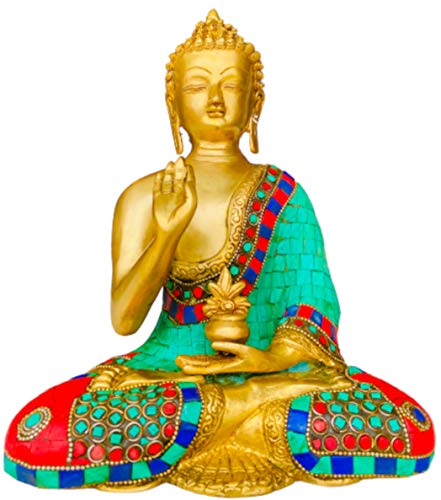 QT S Buddha Brass Statue Stone Finish Blessing Antique Tibetan Buddha Idol for Peace, Meditation & Protection Traditional Siddhartha Sculpture Handmade in Nepal & Famous in India China Thai Buddhism