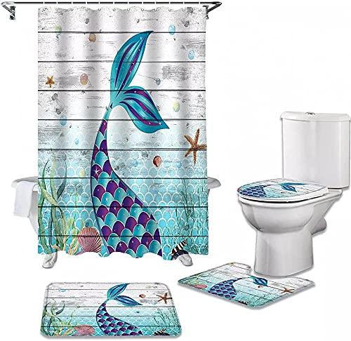 Juego de Cortina de Ducha con Textura de tablón de Madera de Concha de océano de Sirena, mampara de baño para baño, Tapa de Inodoro, Cubierta, alfombras, decoración del hogar