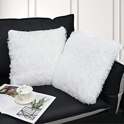 XunHe Weicher Zierkissenbezüge Deko, 2 Pcs Zierkissenbezüge Kunstfell Zierkissen Kissenbezug Sofakissen für Wohnzimmer Schlafzimmer Cafeteria (Weiß, 45 x 45cm)