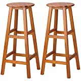 cucunu Bar Stools Set of 2 Made of Massive Acacia Wood 30 Inch I Wooden Counter Height Barstools with footrest for Kitchen I Barstool, Bar Chairs
