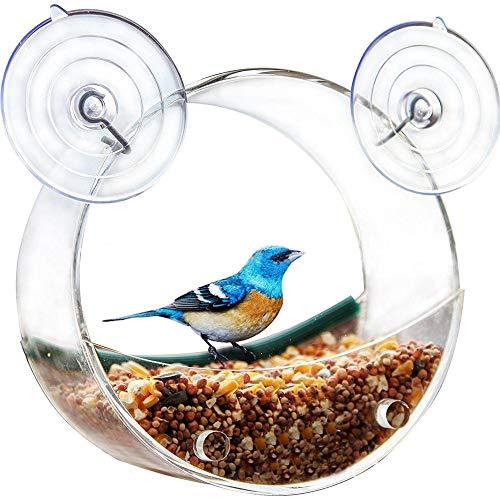 lembrd huisdier vogeltoevoer met staander papegaaien voedseltoevoer hangende kooi voor zittich buiten, plexiglas eekhoorntje raam vogeltoevoer glasweergave vogel voeding