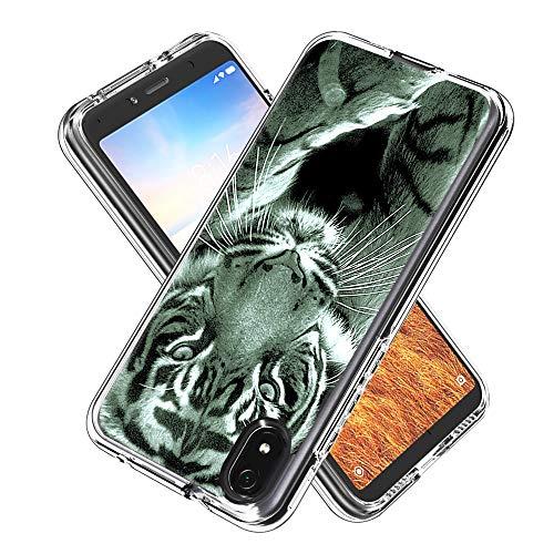 Miagon 2 in 1 Hart PC und Weich TPU Innere Durchsichtig Klar Hülle für Xiaomi Redmi 7A,Bunt Muster Anti Gelb Stoßfest Handyhülle Schutzhülle Bumper Case,Tiger
