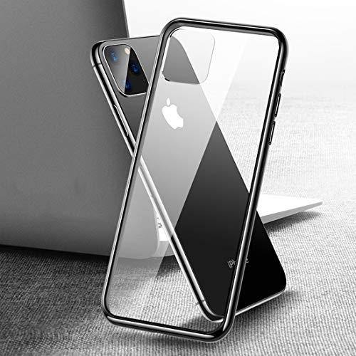 un known Reemplazo Compatible For iPhone 11 Pro Series MAX Transparente de Cristal a Prueba de explosiones Borde Suave 6D Curvo de Vidrio Templado Caja de Accesorios (Color : Black)