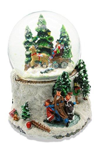 Geschenkestadl Spieluhr Schneekugel Ø 10 cm x 16 cm I Wish You a Merry Christmas