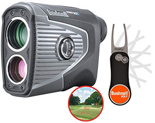 Bushnell Pro XE Golf Laser Rangefinder with Bushnell & PlayBetter Pitchfix Divot Tool | 201950 | BITE Magnetic Cart Mount, 500+ Yards Accuracy, Slope + Elements, Red OLED | Official Bundle