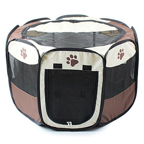 Gabbia pieghevole in tessuto per cane, gatto, coniglio, porcellino d'India, color caffè, taglia S