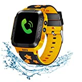 Beacon Pet Kids Smartwatch with GPS Tracker IP67 Waterproof Smart Watch for Kids, Toddlers Phone Watch with Alarm Clocks (Black and Orange)