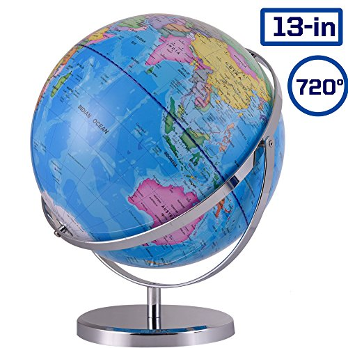 ZUEDA 13 Inch Large Cartography World Globe Geographic Globe 720° Revolution Political Globe for Kids, Students & Adults, Educational Gift