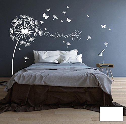 ilka parey wandtattoo-welt® Wandtattoo Wandaufkleber Pusteblume Blüten Schmetterlinge Wunschtext M1416 - ausgewählte Farbe: *Weiß* - ausgewählte Größe:*M 120cm breit x 130cm hoch