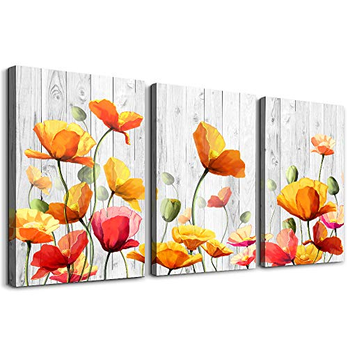 Bedroom Decoration kitchen Wall Artworks Canvas Wall Art for Living Room, 3 piece bathroom Wall decor Yellow flowers Watercolor painting posters Pictures office restaurant wall painting Home decor
