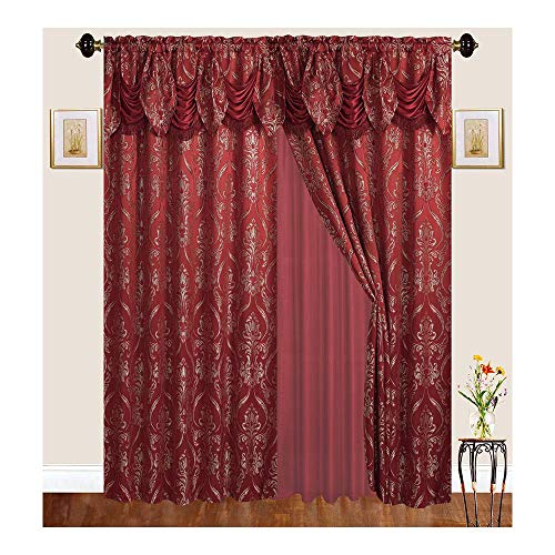 """Bedding Haus Window Drape Set (2 Separate Panels), 84 Inch Length, Panels, Attached Valance, Sheer Backing, Jacquard Fabric, Traditional Victorian Curtains for Living Room, 84"""" 4399, Burgundy"""