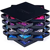 8 Puzzle Sorting Trays with Lid 8' x 8' - Jigsaw Puzzle Accessories Black Background Makes Pieces Stand Out to Better Sort Patterns, Shapes and Colors | for Puzzles Up to 1500 Pieces