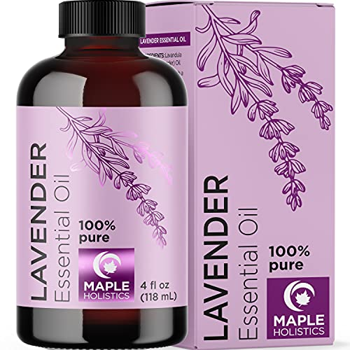 Lavender Essential Oil 4 oz - Relaxing Lavender Essential Oils for Diffusers Aromatherapy and Mood Support - Pure Lavender Oil for Hair Skin and Nails Plus Therapeutic Aromatherapy Oils for Diffuser