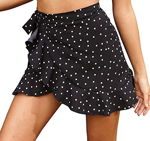 Falda Corta De Verano para Mujer Falda con Volantes Ajustada Falda Estampada con Cordones