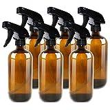 THETIS Botellas de Spray vacías de ámbar Boston de 500ml (6 Paquete de) - Contenedor rellenable con pulverizadores de gatillo, Tapas y Etiquetas, Frasco de Vidrio para aceites Esenciales