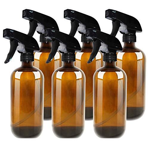 THETIS Botellas de Spray vacías de ámbar Boston de 455ml (6 Paquete de) - Contenedor rellenable con pulverizadores de gatillo, Tapas y Etiquetas, Frasco de Vidrio para aceites Esenciales