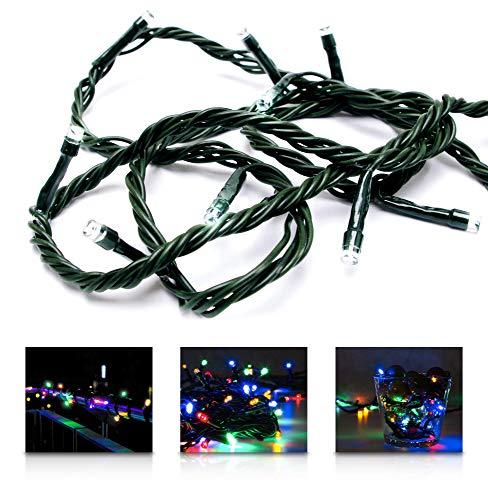 LED Universum Lichterkette mit 100 bunten LEDs (rot, grün, blau, gelb) und 8 Stimmungsmodi für innen und außen, 10 Meter, IP44, Weihnachtszeit, Hochzeiten oder Gartenfeiern