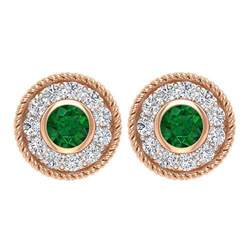 Pendientes de cuerda, pendientes de halo de oro, gemas redondas de 1/4 quilates, diamantes HI-SI de 2,50 mm, esmeralda difusa, pendientes de filigrana, pendientes de bisel, rosca trasera verde