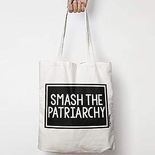 SMASH THE PATRIARCHY tote bag in tela di cotone naturale NEI COLORI NATURALE O NERO per attivismo, femminismo