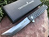 TACTICAL GEARZ Tc4 Titanium Pocket Knife! TG Saint T, Tc4 Titanium Handle! Ball Bearing Pivot System, CPM-D2 Steel Tanto Blade! Includes Sheath!