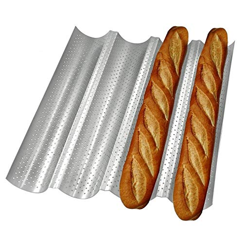 Nonstick 4 Wave Baguette Baking Pan for Baking Bread -Silver Perforated 15' x 13' Steel Bread Pan - French Bread and Italian Bread - Bake Pans for Oven - Baking Tool for Bread Making