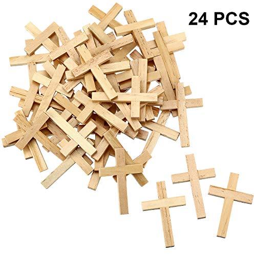 meekoo 24 Stücke Natürliche Holz Kreuz Holzkreuz Anhänger Mini Kreuz Perlen für DIY Handwerk Schmuck Herstellung (Farbe 1)