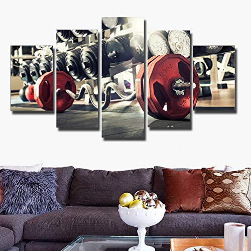 GIAOGE schilderij canvas Hd Decoratie modern schilderij poster muurkunst 5 panelen fitness gewichtheffen woonkamer gedrukte fotolijst Frame 40 x 60, 40 x 80, 40 x 100 cm.