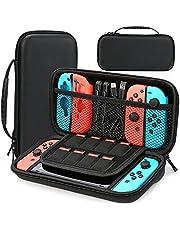 HEYSTOP Funda Compatible con Nintendo Switch, Funda de Viaje para Nintendo Switch con Más Espacio de Almacenamiento para 8 Juegos, Funda para Nintendo Switch Console & Accesorios (Negro)