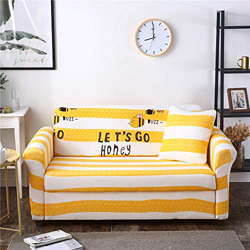 Funda de sofá Antideslizante de Poliéster Spandex Abeja Amarilla Blanca Estampado,Funda elástica Antideslizante Protector Cubierta de Muebles para sofá de 4 plazas(1 Funda de Cojines)