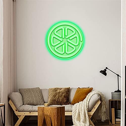Rebanadas de limón letreros de neón LED, decoración de arte de pared personalizada neón para el hogar, casa, habitación, placa de iluminación, aplique ( Color : Green , Size : 42.6x46CM )