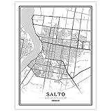 YUAN Leinwand Bild,Uruguay Salto Stadt Karte Schwarz Weiß