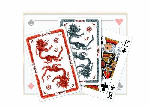 Vier Treff Spielkarten Meissen - Ming Drache - rot/anthrazit