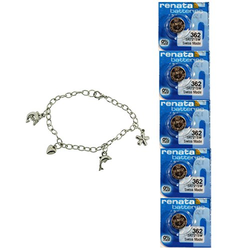 5X Renata 362 1,55 V Silberoxyd Uhrenbatterie + GRATIS Geschenk TOC Charm Armband