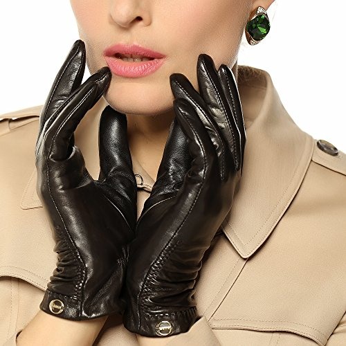 ELMA Women's Winter Nappa Leather Ruched Gloves Folds Gold Plated Logo (L, Brown)