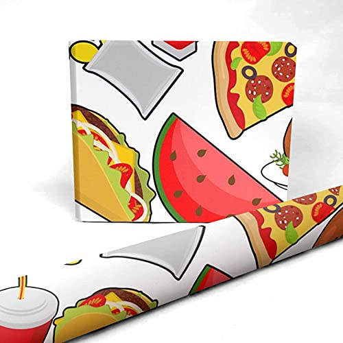 InterestPrint Pizza, French Fries, Hamburger Present Packing Paper 58 x 23 inch for Halloween Thanksgiving 1 Sheet