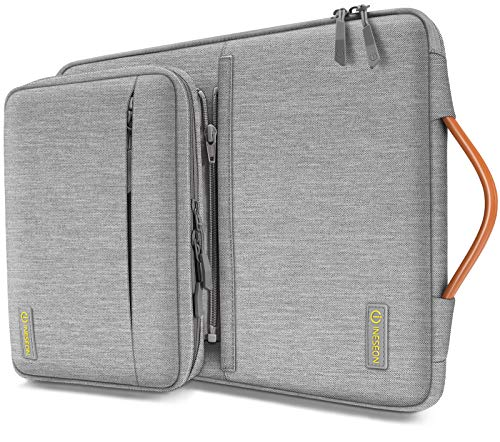 iNeseon 360°Protection 14-Inch Laptop Sleeve Case for 14 Inch Acer ASUS Dell HP Lenovo Huawei Notebook Chromebook Ultrabook, Protective Cover Carry Bag with Detachable Accessory Pouch, Grey