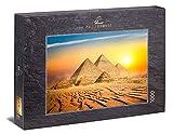 Ulmer Puzzleschmiede - Puzzle 'Tierra de los faraones': Puzzle de 1000 piezas - Pintoresco motivo egipcio con las pirámides bajo el cálido sol del desierto
