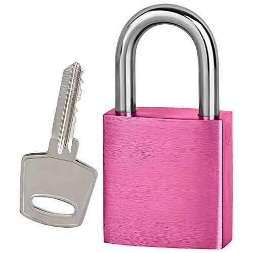 Vorhängeschloss Liebesschloss mit Bügel und Schlüssel 75x38mm ohne Gravur (pink)