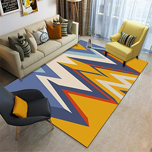 Alfombras Salon Baratas Pelo Corto Estilo Geométrico Blanco Azul Amarillo De Colores Brillantes Children's Room Game Yoga Deporte Insonorizar Moqueta 80X160cm