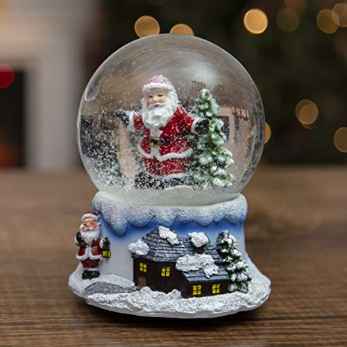 The Christmas Workshop Musical Snow Globes | Indoor Christmas Decorations | Wind Up & Play (Santa Snow Globe)