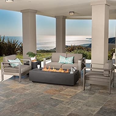 Crested Bay Patio Furniture ~ Outdoor Aluminum Sectional Sofa Set with Dark Grey Fire Table